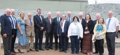 Minister Charlie Flanagan with Councillors and officials at the formal opening of the Fort Protector/Fitzmaurice Place conservation project. Picture: Alf Harvey.