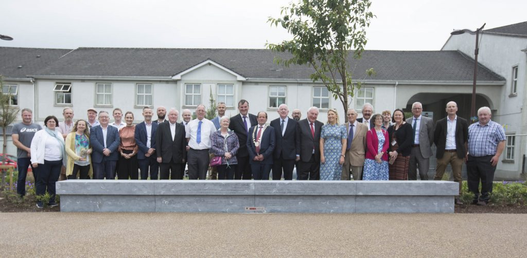 Minister Charlie Flanagan with Councillors, officials and guests at the formal opening of the Fort Protector/Fitzmaurice Place conservation project. Picture: Alf Harvey.