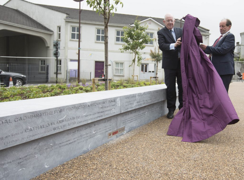 Minister Charlie Flanagan and Cathaoirleach Willie Aird perform the unveiling at the formal opening of the Fort Protector/Fitzmaurice Place conservation project. Picture: Alf Harvey.