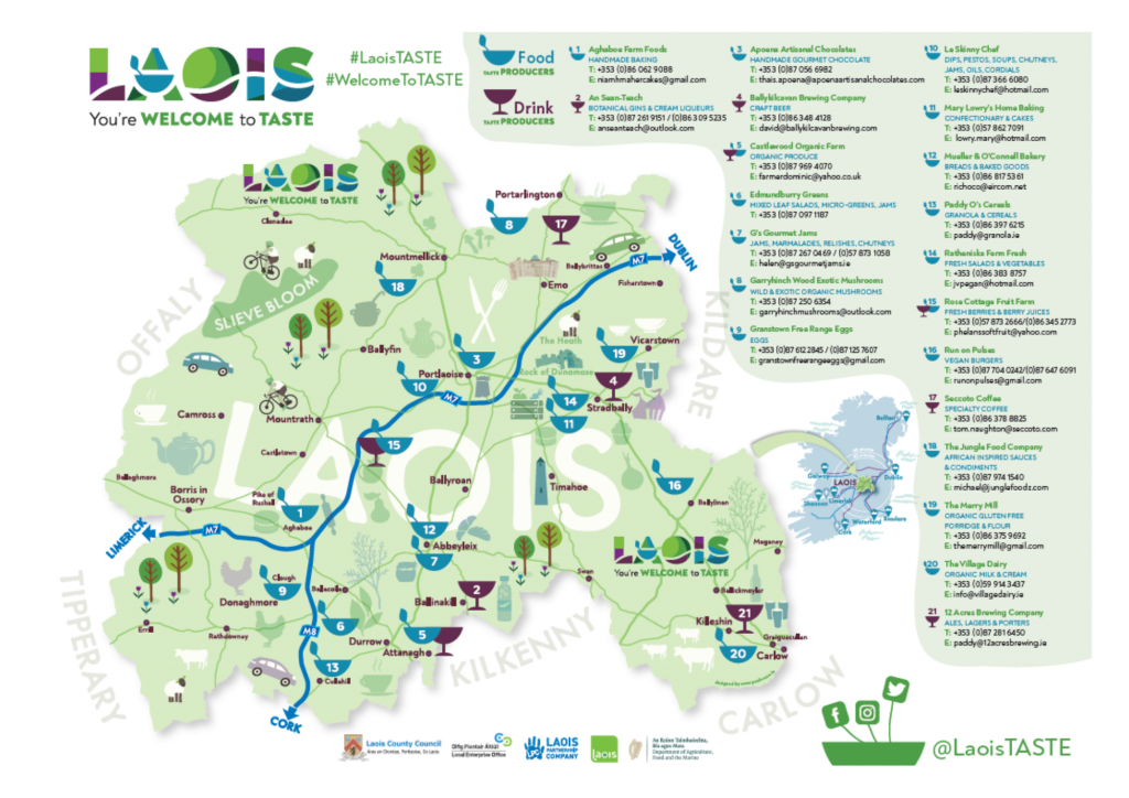 Laois TASTE Food and Drink Producers Map