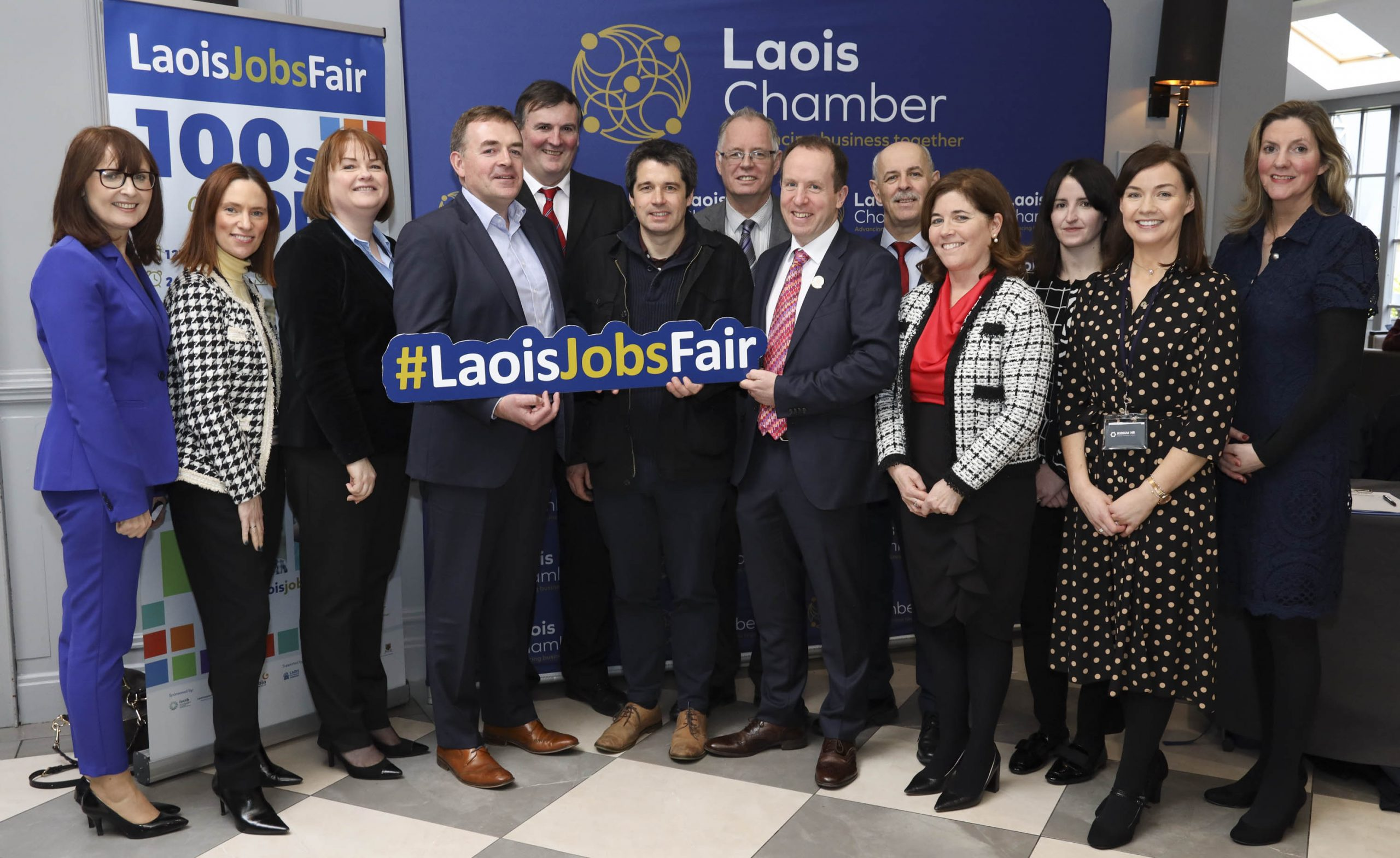 Laois Chamber president Martin Crowley and chief executive Bernie Everard with sponsors at the Laois Jobs Fair organised by the Laois Chamber of Commerce in the Midlands Park Hotel, Portlaoise. From left: Evelyn Reddin, LEO; Naoise Coogan, Nuala OÕRegan and Kevin Egan, Glanbia Cheese; John Mulholland, chief executive Laois County Council; Mark Clancy and Peter OÕNeill, Laois Partnership; Martin Crowley, Laois Chamber; Gerry Murphy, Laois County Council; Bernie Everard, Laois Chamber; Amie Colgan, Nuvo Recruitment; Sinead Grehan, Iridium HR and Sandra Doyle, LOETB. Photo: Alf Harvey, no reproduction fee.